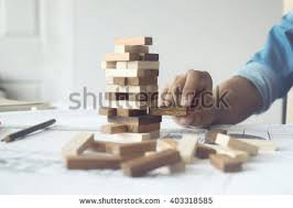 Game Played With Wooden Blocks Hand Engineer Playing Blocks Wood Game Stock Photo 100 19