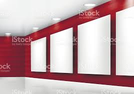 lighting frames. Gallery Empty Frames On Red Wall With Lighting Royalty-free