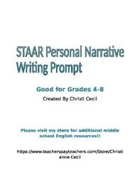 Staar Personal Narrative Writing Prompt By Tales From Room 801 Tpt