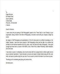 8 Photographer Cover Letter Templates Free Sample