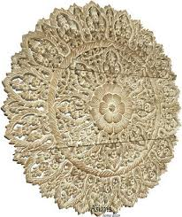 set of 3 large asian carved wood fl