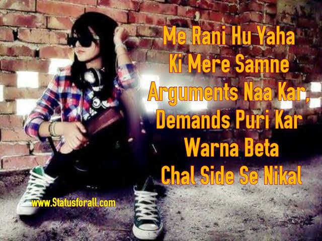 attitude status in hindi for girl