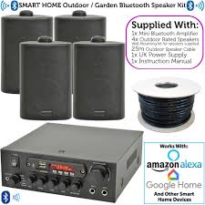 details about outdoor bluetooth speaker kit 4x black karaoke stereo amp garden bbq parties