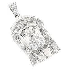 14k yellow or white gold round diamond head pendant for men 1 8ct white image