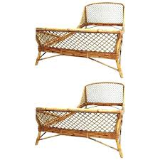 mid century modern wicker chair pair of rattan and bamboo french beds by dining room chairs