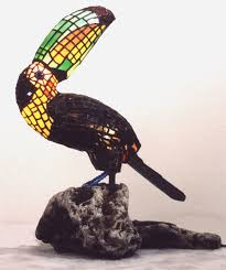 2001 chico chico stained glass lamp sculpture