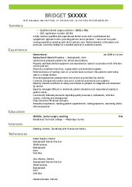 dental nurse cv example  clowne dental surgery    worksop    xxxx x  dental assistance