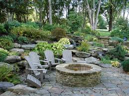Fire pit with seating area rustic-patio