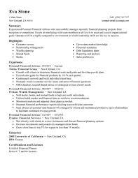 Example Of Finance Resume Financial Advisor Resume Examples Examples of Resumes 28
