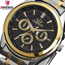 mens talking watches promotion shop for promotional mens talking chenxi wrist watch men gold top brand luxury man quartz watch stainless steel wristwatch mens relogio masculino 018a