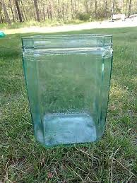 vintage delco light exide aqua glass battery case jar