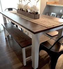 Homemade Dining Room Table Custom DIY Farmhouse Table Plans With Benches Woodworking Plans Etsy