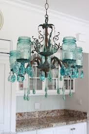 diy mason jar lighting. Creative Idea:Clear Blue Mason Jars Chandelier Clear Diy Jar Lighting N