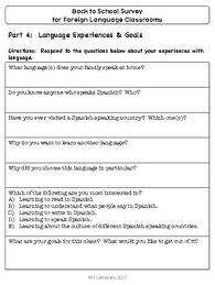 School Survey Questions Back To School Survey For Foreign Language Classrooms By Spanish
