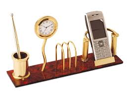 wooden desk clock with mobile stand and pen stand