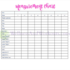 Body Fitness Chart Free Printable Body Measurement Chart Body Measurement Tracker