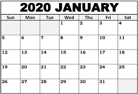 2020 Calendar With Us Holidays January 2020 Calendar Us Printable With Holidays Set Your