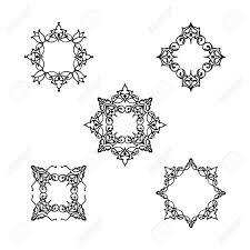 装飾ライン花柄セット花曼荼羅アラビア飾りコレクション