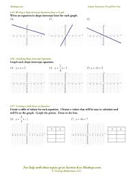 slope worksheets finding slope from a linear equation graph a