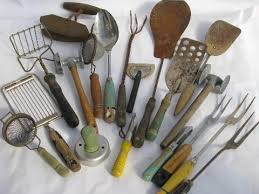 vintage kitchen tools. huge lot fixer-upper junk vintage kitchen tools \u0026 utensils, old wood handles laurel leaf farm