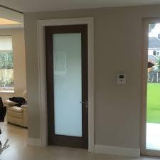 Perfect for interior doors to add light to a dark hallway- Walnut internal  door with frosted glass