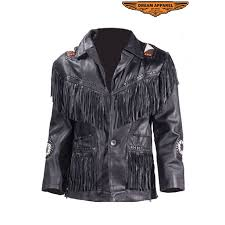 mens biker western style motorcycle jacket with fringes beads