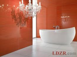 red bathroom color ideas. Bathroom: Stunning Bathroom Color Ideas With Orange Wall Panels And Dazzling Chandelier Red
