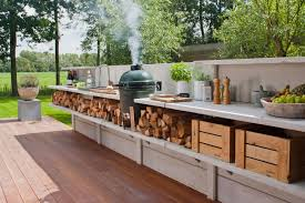 Outdoor Kitchen Furniture Divine Outdoor Kitchen Designs With All Wood Furniture