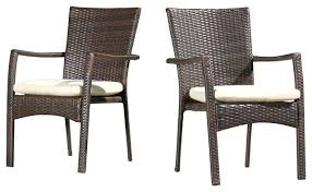 outdoor wicker dining chairs with beige cushions set of 2 regarding outdoor dining chairs design target