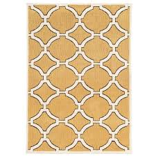 linon home decor geo collection goldenrod ivory 5 ft x 7 ft indoor