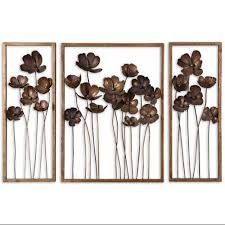 >cheap flower wall art metal find flower wall art metal deals on  get quotations set of 3 decorative antique gold leaf poppy flower metal wall art 40