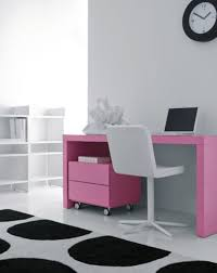 bright home office design. charming pink desk with notebook and white stool in bright home office design image