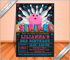 Invitation Bowling Girl Party Invitation Bowling Chalkboard Pink