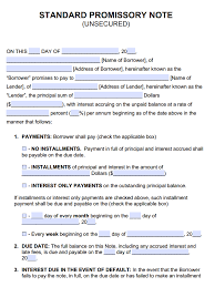 Promissory Note Word Template Unsecured Promissory Note Template Promissory Notes