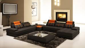 living room black orange leather sofa with cushions plus sectional couch corner table wooden the fur