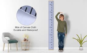 Blank Baby Growth Chart Ehznzie Baby Height Growth Chart Ruler For Kids Wall Wood Frame And Canvas Room Decoration 79 X 7 9 Inches Grey