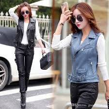 2019 women pu leather vest las tactical leather motorcycle vest pocket vest waistcoat female sleeveless waistcoat from good2018 36 85 dhgate com