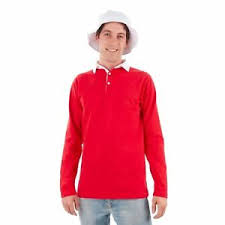 Gilligan O Malley Size Chart Details About Mens Island Castaway Gilligan Red Rugby Polo Long Shirt White Bucket Hat Costume