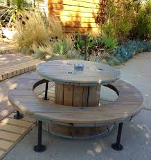 upcycled wooden cable spools picnic table