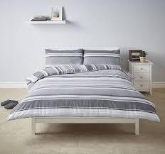 new tesco black basic stripe duvet cover 2 pillowcases set