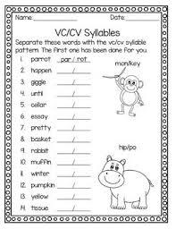 Vcv Pattern Inspiration Syllable Patterns VCV VCV And VCCV No Prep Worksheets