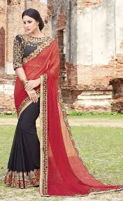 Indian Saree Designs Images Black And Rusted Red Latest Indian Saree Designs