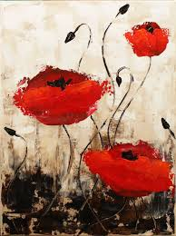 impressionist poppies step by step acrylic painting on canvas for beginn