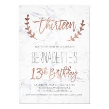 13th Party Invitations Rose Gold Typography Feathers Marble 13th Birthday Invitation