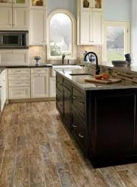 Contemporary Kitchen Wood Tile Flooring Porcelain Tiles Add A Rustic Look And With Impressive Design