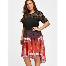 Red Xl Plus Size Lace Panel Vintage Christmas Party Dress Christmas Party Dress Plus Size