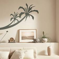 Traditional Living Room Design with Tropical Wall Stencil Paint, Dark  Coconut Tree Wall Pattern,