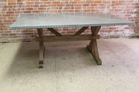 Zinc Dining Table French Zinc Topped Table Tolix Style Chair Vintage Style Hammered Zinc