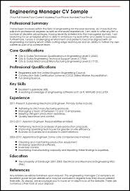 Sample Resumes For Mechanical Engineers Best of Engineering Manager CV Sample MyperfectCV