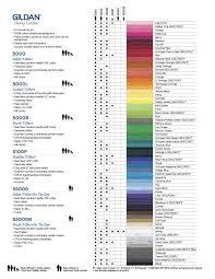 Gildan Color Chart 5000 Gildan T Shirt Color Chart